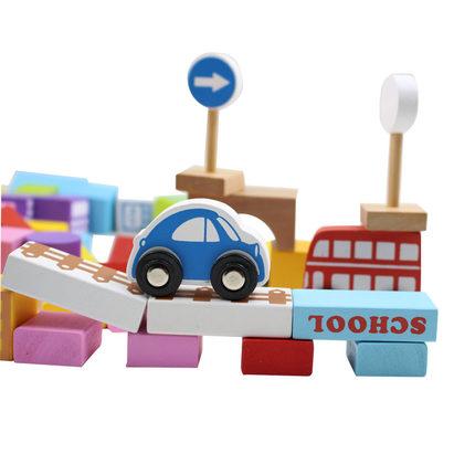 溜达猫 城市交通场景积木玩具 100粒+60片拼图,¥26.8