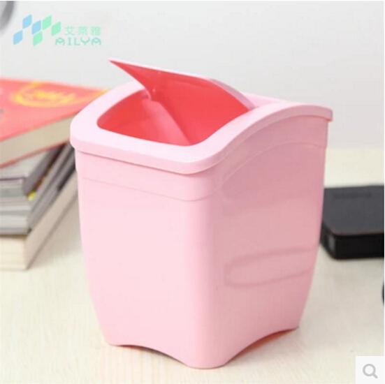 艾莱雅摇盖式迷你加厚加重升级版垃圾桶3L