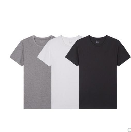馬威全棉短袖T恤男純色汗衫上衣3件裝 劵后69元包郵